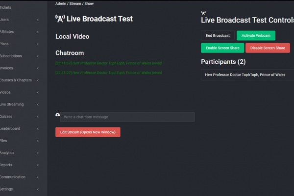 Live Streaming Now Available - Major Release